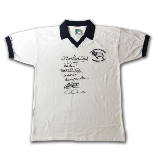 Derby County FC Champions Charity Shield 1975 signed Shirt x7 Legends