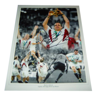 Martin Johnson England Rugby Legend Autographed Photo Montage